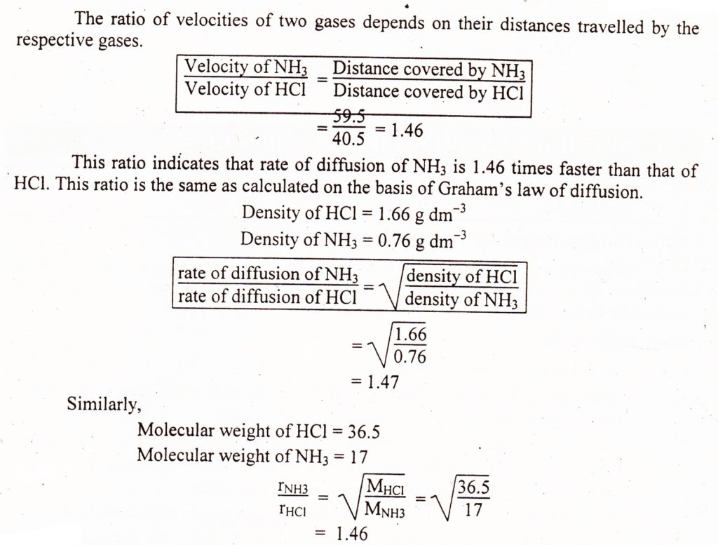 calculations for experimental verification of Graham Law of diffusion