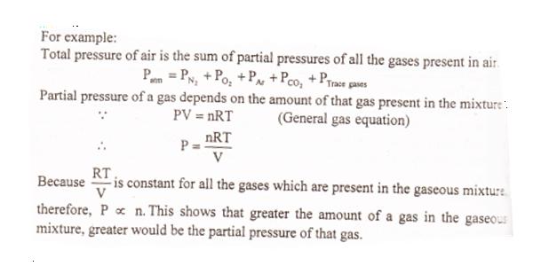 dalton's law of partial pressure mathematical expression